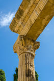 Detailed view of roman column construction on sky background in Tarragona, Spain Stock Photo