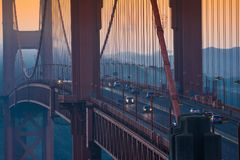San Francisco golden gate bridge morning traffic Stock Photos