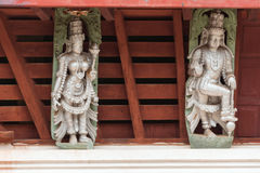 Detailed view of sculptures under the roof. Of the Temple of Thousand Pillars in Moodabidri royalty free stock photos