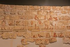 Detailed view of the Talatat Wall. Editorial: LUXOR, EGYPT, October 16, 2018 - Detailed view of the Talatat Wall in the Luxor museum royalty free stock image