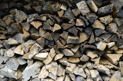 Detailed view to stacked firewood. Detailed view to stacked and seasoned firewood for an open-hearth fireplace Royalty Free Stock Photo