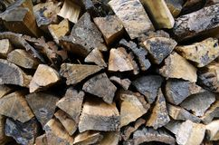 Detailed view to stacked firewood. Detailed view to stacked and seasoned firewood for an open-hearth fireplace Stock Photo