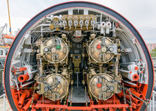 Detailed view of torpedo room in submarine. Royalty Free Stock Photography