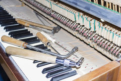 Detailed view of Upright Piano during a tuning Stock Images