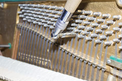 Detailed view of Upright Piano during a tuning Stock Photo