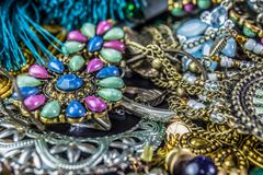 Detailed view of various Jewelry and props stock images