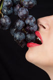 Detailed view of y young woman eating grapes Stock Photography