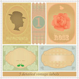 Detailed vintage label set Stock Images