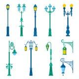 Detailed Vintage Street Lamps and Lantern Set Royalty Free Stock Photo