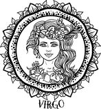 Detailed Virgo in aztec style Royalty Free Stock Image