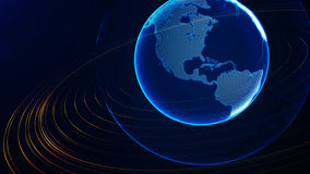 Detailed virtual planet Earth. Technological digital globe world Stock Photos