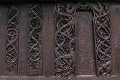 Detailed wall of the Urnes Stave Church, Norway. Detailed wall of the Urnes Stave Church, Ornes, Norway Royalty Free Stock Image