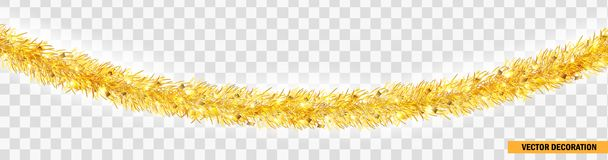 Detailed wide golden christmas garland. Xmas tinsel border . Vector decoration for holiday design, website royalty free stock image