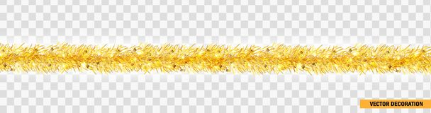 Detailed wide golden christmas garland. Xmas tinsel border . Vector decoration for holiday design, website Royalty Free Stock Photo
