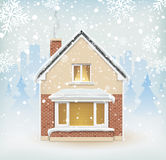 Detailed winter house on snowy background Royalty Free Stock Photos