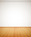 Detailed wood floor and white wall Stock Photos