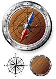 Detailed wooden compass Stock Image
