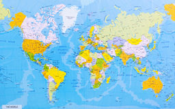 Detailed world map. With countries and cities stock photography