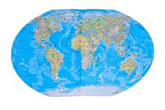 Detailed World Map. With all Names of Countries, river, lake, oceans, seas Royalty Free Stock Photo