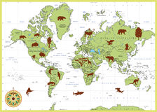 Detailed World Map with Animals Royalty Free Stock Image