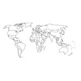 Detailed world map and borders vector illustration