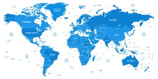 Detailed world map with borders, countries, water objects. Vector illustration royalty free illustration