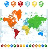 Detailed  World map with colorful continents and map point Royalty Free Stock Photos