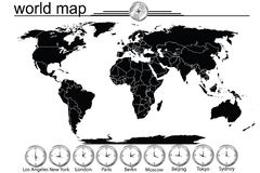 Detailed world map with country borders Stock Photography