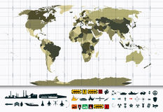 Detailed World Map and Military Power Icon Set Royalty Free Stock Photography