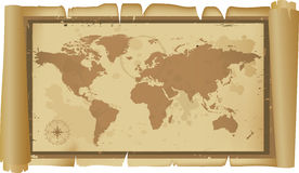 Detailed world map on scroll Stock Photography