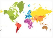 Detailed World Map spot colors. No text. Highly detailed spot colored illustration of World Map stock illustration