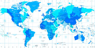 Detailed World map standard time zones Stock Photos