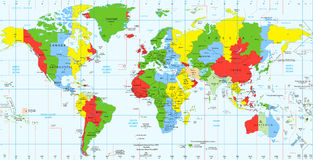 Detailed World map standard time zones Stock Photo