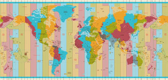 Detailed World map standard time zones. Vector illustration of world standard time zones map Stock Image
