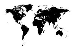 Detailed world map vectors. Detailed world map in s Royalty Free Stock Photography