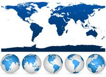 Detailed world outline and globes Royalty Free Stock Photo