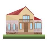 Detailes de la casa de los ejemplos del vector del edificio de la fachada de la arquitectura Foto de archivo libre de regalías
