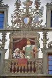 Detailfassade des alten Hauses Luzern switzerland lizenzfreies stockbild