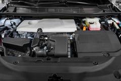 Detailfoto van motor van een auto onder de kap Royalty-vrije Stock Foto's