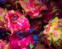 Detailhuid van de rode die foto van het draakfruit in Bogor Indonesië wordt genomen Royalty-vrije Stock Foto