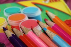Paints, colors, pencils, macro, details. Detailing the color gamut in macro photography Stock Images