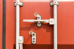 Detailing lock for container door. Royalty Free Stock Images