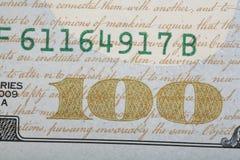 Detaill нового дизайна США 100 долларовых банкнот. Стоковые Фотографии RF