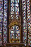 Detail Beautiful stained glass windows in the upper level interior Sainte-Chapelle Paris France. Detailled view Stained Glass windows at the upper level interior Stock Photography