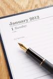 Detailleer agenda en pen Royalty-vrije Stock Foto's