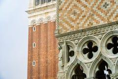 Detailmening van het Paleis van de Doge, Venetië, Italië royalty-vrije stock foto's