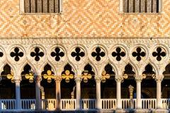 Detailmening van het Paleis van de Doge, Venetië, Italië stock afbeelding