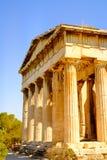 Detailmening van tempel van Hephaestus in Oud Agora, Athene Royalty-vrije Stock Foto's