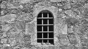 Detailof fönster av fängelsehålan av slotten av Santa Cruz i Santa Cruz Galicia, Spanien av Santa Cruz i Santa Cruz Galicia, Span Royaltyfri Foto
