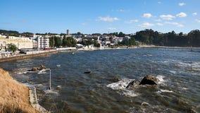 Detailof fönster av stranden av Santa Cruz i Santa Cruz Galicia, Spanien av Santa Cruz i Santa Cruz Galicia, Spanien Arkivfoto